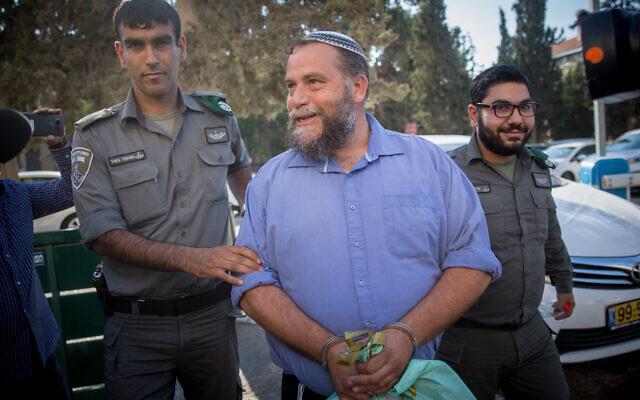 Le président de Lehava, Benzi Gopstein, est traduit devant le tribunal de première instance de Jérusalem, le 22 octobre 2017. (Yonatan Sindel/Flash90)