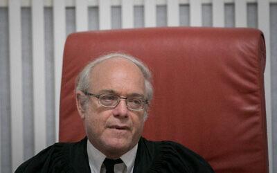 Le juge à la cour suprême Neal Hendel, le 25 juillet 2018 (Crédit : Yonatan Sindel/Flash90)