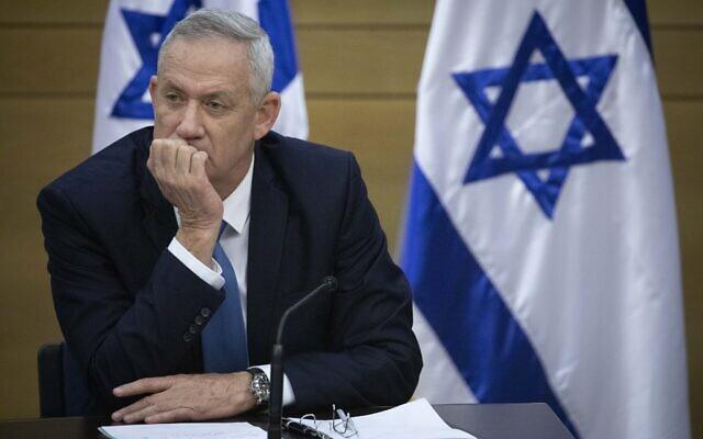 Le président du parti Kakhol lavan, Benny Gantz, assiste à une réunion des factions à la Knesset à Jérusalem, le 28 octobre 2019. (Hadas Parush/Flash90)