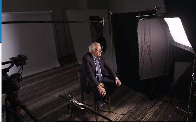 Capture d'écran vidéo du candidat à la présidence et sénateur américain Bernie Sanders (Independant-Vermont) parlant au New York Times (Crédit : New York Times)