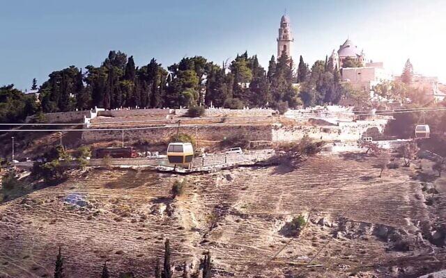 Capture d'écran d'une vidéo promotionnelle pour le téléphérique de la Vieille Ville de Jérusalem montrant une représentation de cabines passant au-dessus de la Vallée Hinnom. (YouTube)
