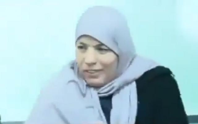 Wafa Naalowa dans un tribunal militaire israélien (Capture d'écran de vidéo)
