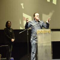 """Le réalisateur acclamé Quentin Tarantino à la Cinémathèque de Jérusalem le 14 décembre 2019 pour la projection du documentaire """"QT8: The First Eight"""" de Tara Woods (Autorisation : Shaul Weinstein)"""
