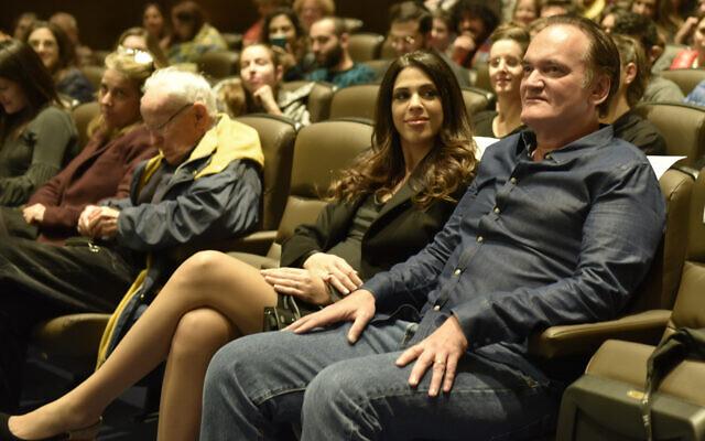 Daniella Pik et son mari, Quentin Tarantino, à la Cinémathèque de Jérusalem le 14 décembre 2019. (Autorisation : Shaul Weinstein)