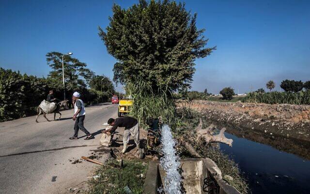 L'agriculteur égyptien Mohamed Omar (à gauche, portant un turban blanc) et d'autres agriculteurs approvisionnent leurs terres agricoles en eau à partir d'un canal alimenté par le Nil, dans le village de Baharmis, en périphérie de la province de Gizeh, au nord-ouest du Caire, le 1er décembre 2019. (Crédit : Khaled DESOUKI / AFP)