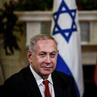 Le Premier ministre Benjamin Netanyahu participe à une réunion avec le Premier ministre portugais au Palais Sao Bento à Lisbonne, le 5 décembre 2019. (PATRICIA DE MELO MOREIRA/AFP)