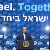 Le président américain Donald Trump prend la parole lors de la conférence annuelle du Israeli-American Council à Hollywood, en Floride, le 7 décembre 2019. (Noam Galai/via JTA)