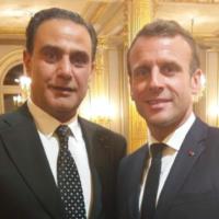 Le militant d'extrême droite Elie Hatem et le président français Emmanuel Macron. (Crédit : Elie Hatem / Facebook)
