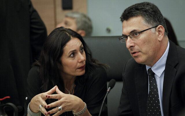 Les députés du Likud Miri Regev et Gideon Sa'ar lors d'une réunion de comité à la Knesset, le 27 octobre 2014. (Miriam Alster / Flash90 / Archives)