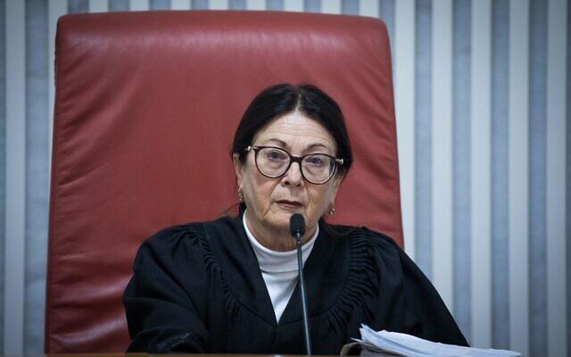 La présidente de la Cour suprême, Esther Hayut, lors d'une audience à la Cour suprême à Jérusalem, le 3 décembre 2019. (Yonatan Sindel/Flash90)