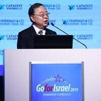 Ronnie Chan, homme d'affaires milliardaire de Hong Kong, président du promoteur immobilier Hang Lung Group Limited, lors de la conférence GoForIsrael à Tel Aviv, le 3 décembre 2019. (Dror Sithahkol)