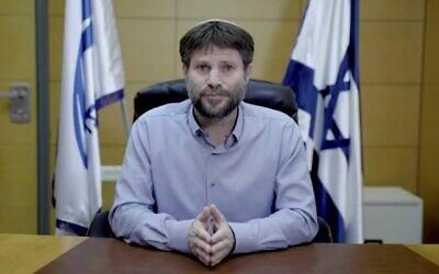 Bezalel Smotrich fait une déclaration vidéo le 31 décembre 2019. (Crédit : capture d'écran/Union nationale)
