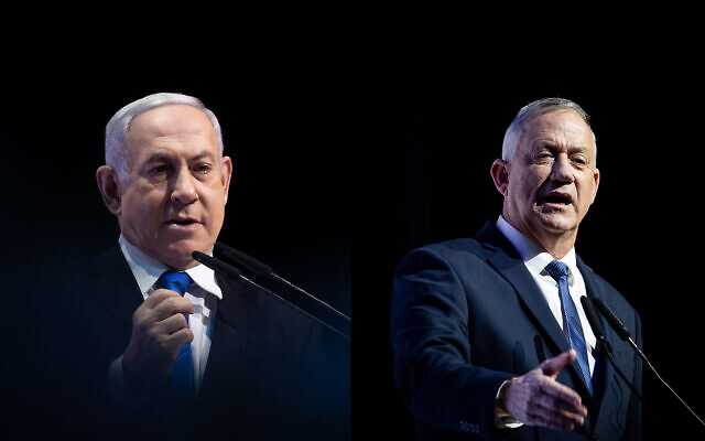 Une photo composite montre le Premier ministre Benjamin Netanyahu (à gauche) et le chef du parti Kakhol lavan, Benny Gantz (à droite), lors d'une conférence de presse à Jérusalem, le 8 décembre 2019. (Yonatan Sindel/Hadash Parush/Flash90)