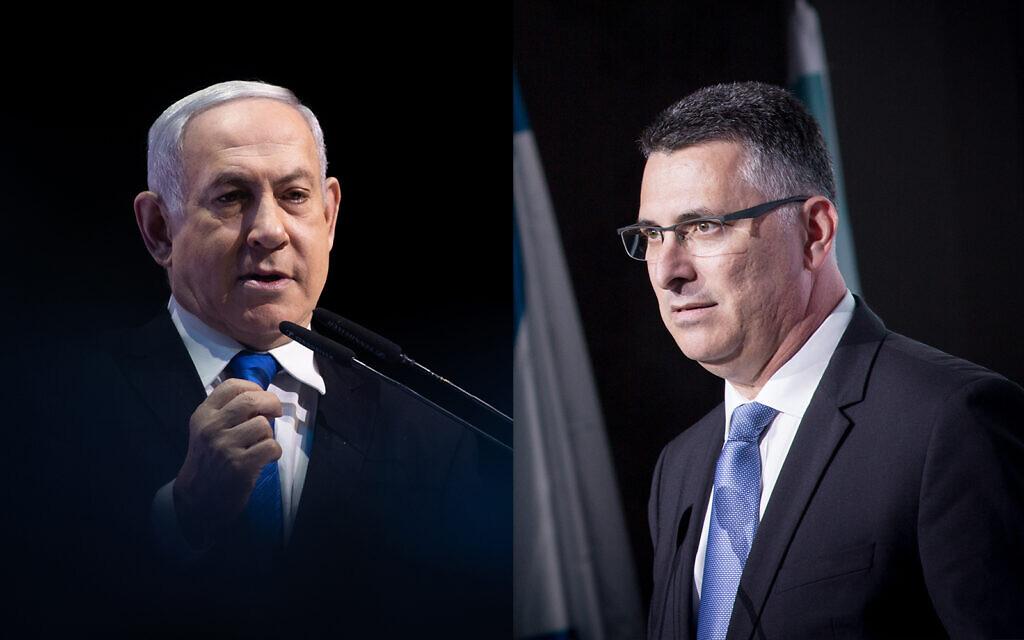 Le Premier Ministre Benjamin Netanyahu, (à gauche), et le député du Likud Gideon Saar. (Flash90)