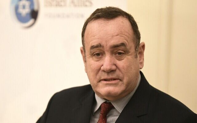 Le nouveau président du Guatemala Alejandro Giammattei à Jérusalem, le 9 décembre 2019. (Avi Hayun)