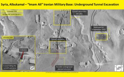 Des images par satellite montrent un tunnel iranien présumé sur une base militaire à proximité d'un poste-frontière dans la région de Boukamal, en Syrie, à proximité de la frontière irakienne, le 10 décembre 2019 (Crédit : ImageSat International)