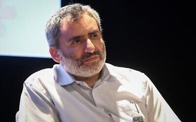 Le ministre de la Protection de l'environnement de l'époque Zeev Elkin participe à la Conférence Katif à Yad Binyamin, le 6 août 2019. (Flash90)