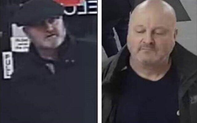 Deux hommes que la police britannique cherche à identifier après une agression verbale antisémite le 17 novembre 2019. (Greater Manchester Police à partir de séquences CCTV)