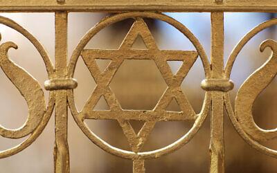 Une Etoile de David sur la synagogue de la communauté juive à Halle an der Saale, à l'est de l'Allemagne. (Jan Woitas / dpa / AFP) / Germany OUT)