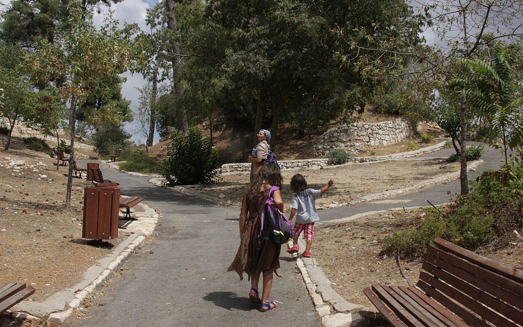 Le parc de la citadelle à Safed se trouve sur le site d'une forteresse croisée qui avait été prise par une armée mameuke en 1266. (Crédit : Shmuel Bar-Am)
