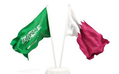 Illustration : les drapeaux d'Arabie saoudite et du Qatar. (Crédit : iStock)