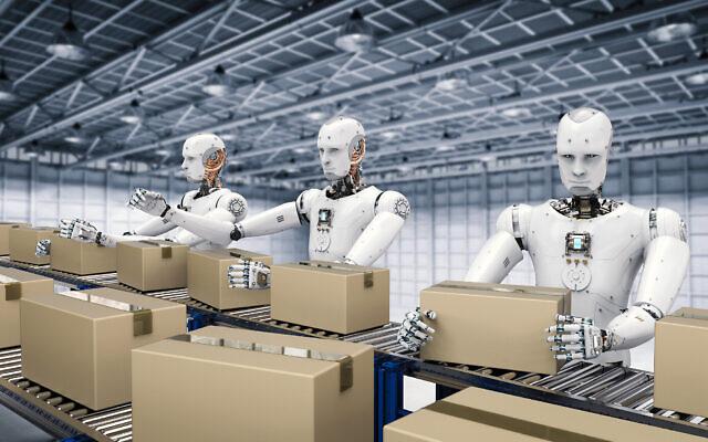 Image illustrative de robots travaillant avec des boîtes en carton sur un tapis roulant (Crédit : PhonlamaiPhoto ; iStock par Getty Images)