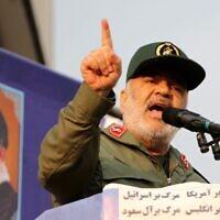Le commandant des Gardiens de la révolution iraniens, le général de division Hossein Salami, s'exprime lors d'un rassemblement pro-gouvernemental sur la place centrale Enghelab de la capitale Téhéran, le 25 novembre 2019. (ATTA KENARE / AFP)