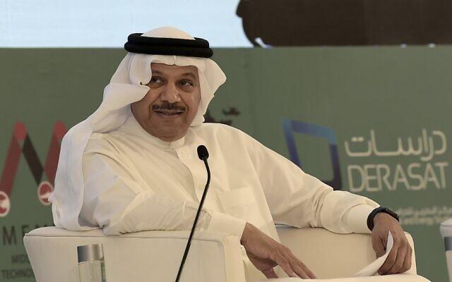 Cette photo prise le 29 octobre 2019 montre Abdel Latif al-Zayani, Secrétaire général du regroupement régional, le Conseil de coopération du Golfe (CCG) lors d'une Conférence sur la Technologie militaire au Moyen Orient (MEMTEC), dans la capitale du Bahreïn, Manama. (Photo par Mazen Mahdi / AFP)