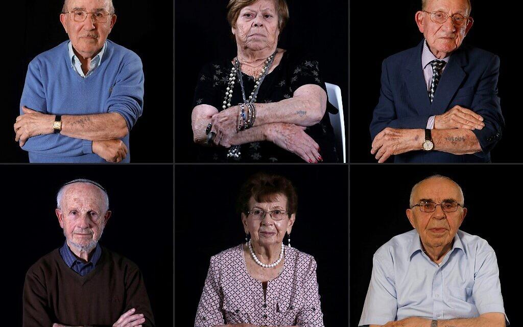 (MONTAGE) Les survivants de la Shoah  Malka Zaken, Shmuel Blumenfeld, Saul Oren, Batcheva Dagan,et Menahem Haberman. (Crédit : by MENAHEM KAHANA / AFP)