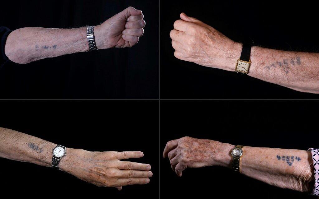 (MONTAGE) Les bras tatoués par les nazis de Avraham Gershon Binet, Szmul Icek, Menahem Haberman et Batcheva Dagan. (Crédit : MENAHEM KAHANA / AFP)