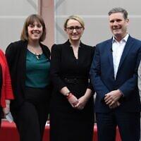 Les candidats à la direction du Parti travailliste britannique : Emily Thornberry, Jess Phillips, Rebecca Long-Bailey, Keir Starmer et Lisa Nandy. (Crédit : Paul ELLIS / AFP)