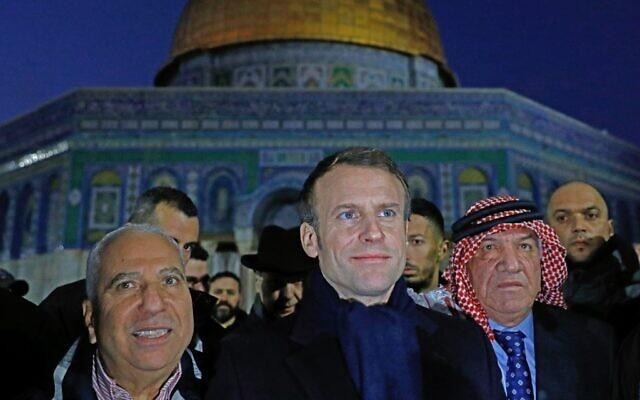 Emmanuel Macron au mont du Temple, le 22 janvier 2020. (Crédit :  Ahmad GHARABLI / AFP)
