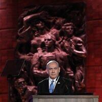 Le Premier ministre israélien Benjamin Netanyahu au 5e Forum de la Shoah, à Jérusalem, le 23 janvier 2020. (Crédit by Abir SULTAN / POOL / AFP)