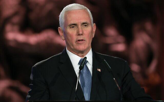 Le vice-président américain Mike Pence au 5e Forum de la Shoah, à Jérusalem, le 23 janvier 2020. (Crédit by Abir SULTAN / POOL / AFP)