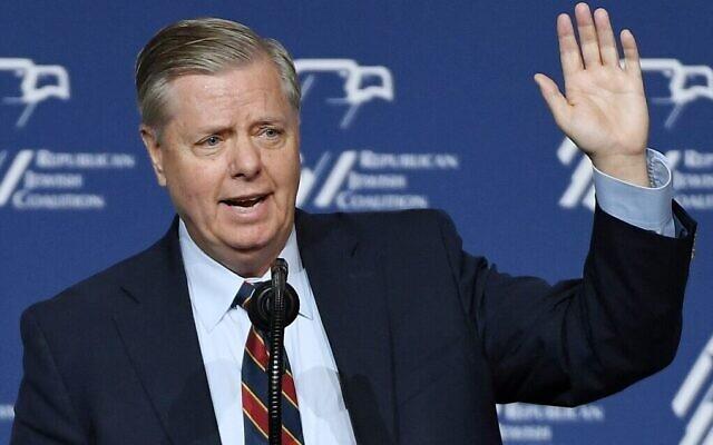 Le sénateur américain Lindsey Graham s'exprime lors de la réunion annuelle de la Republican Jewish Coalition au Venetian Las Vegas, le 6 avril 2019 à Las Vegas, Nevada. (Ethan Miller/Getty Images/AFP)