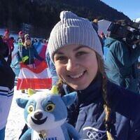 La skieuse israélienne Noa Szollos, aux Jeux olympiques de la jeunesse d'hiver de 2020, à Lausanne. (Crédit : Olympic.org / Bruno Cuaz)