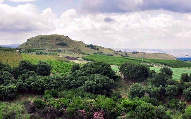 Abel Beth Maacah vu du nord-ouest, avec le plateau du Golan en arrière-plan (Crédit : Ferrell Jenkins)