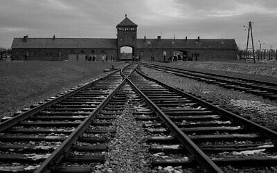 La voie ferrée d'où des centaines de milliers de personnes ont été dirigées vers les chambres à gaz pour être assassinées, à l'intérieur de l'ancien camp de la mort nazi d'Auschwitz Birkenau ou AuschwitzII, à Oswiecim, en Pologne, le 7 décembre 2019. (Markus Schreiber/AP)