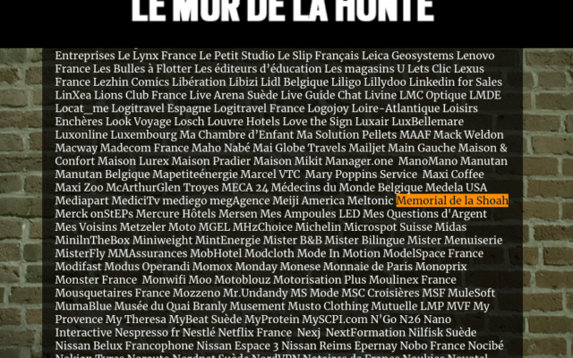 Le «Mur de la Honte» du magazine Valeurs actuelles.