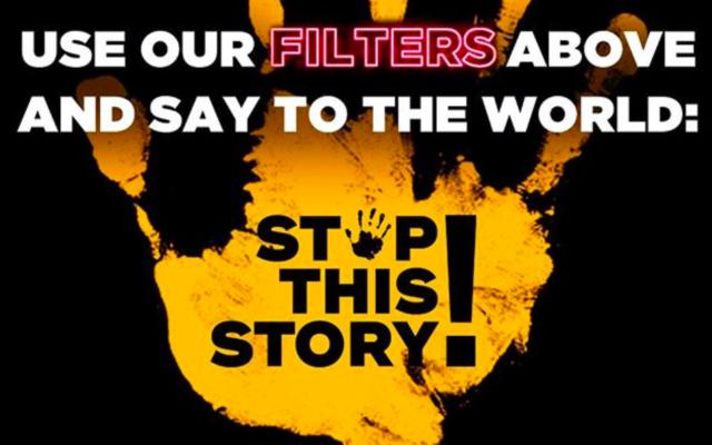 Une image de présentation de la campagne «Stop this Story!» du Congrès juif européen. (Crédit : Instagram / Stop This Story)