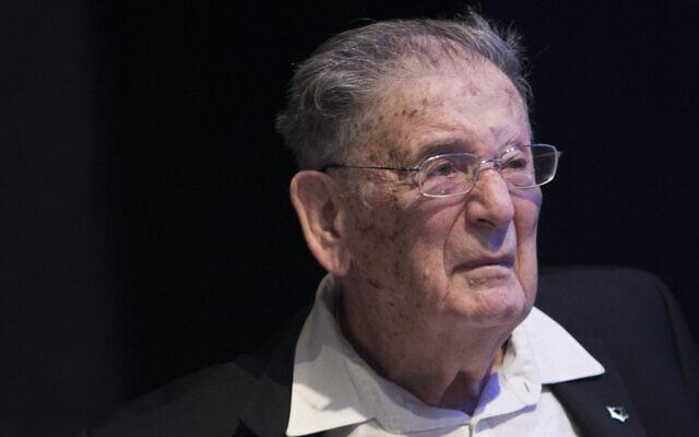 Le professeur Yehuda Bauer lors d'une cérémonie de remise de prix à Jérusalem, le 4 décembre 2016. (Yonatan Sindel/Flash90)