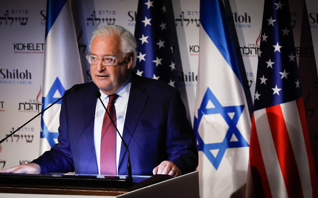 L'ambassadeur américain en Israël, David Friedman, s'exprime pendant la conférence du Forum Kohelet au centre Menachem Begin de Jérusalem, le 8 janvier 2020. (Crédit : Olivier Fitoussi/Flash90)
