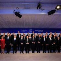 Le président Reuven Rivlin accueille plus de 40 dirigeants dans le cadre du 5e Forum mondial de la Shoah, le 22 janvier 2020. (Crédit : Olivier Fitoussi / Flash90)