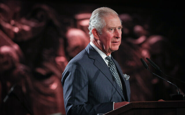 Le Prince de Galles, son Altesse royale le Prince Charles, s'exprime lors du 5e Forum mondial sur la Shoah à Yad Vashem à Jerusalem,le 23 janvier 2020. (Crédit : Yonatan Sindel/FLASH90)