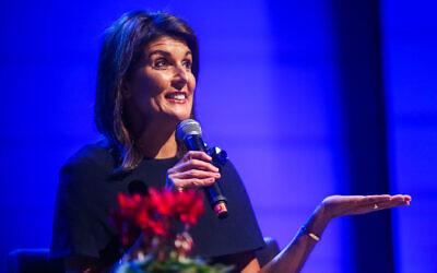 L'ex-ambassadrice américaine à l'ONU,   Nikki Haley, lors d'un événement au centre israélien des Addictions de Tel Aviv, le 27 janvier 2020 (Crédit :  Flash90)