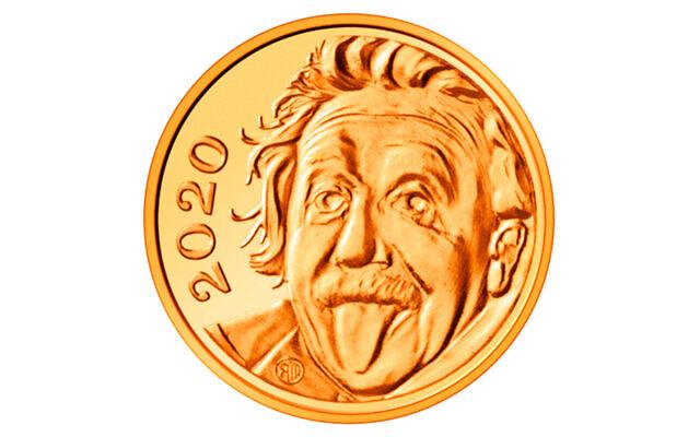 Le célèbre portrait du physicien juif helvetico-américainAlbert Einstein tirant la langue frappé par la Suisse sur la plus petite pièce d'or au monde. (Crédit : Swissmint / Benjamin Zurbriggen via AP)