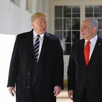 Le président américain Trump accueille le Premier ministre Benjamin Netanyahu à la Maison Blanche, le 27 janvier 2020. (Crédit : Kobi Gideon / GPO)