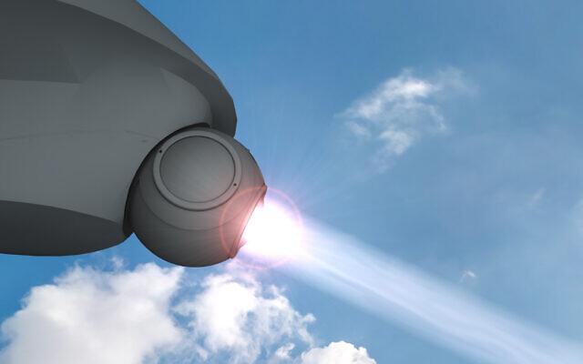 Un modèle informatique d'un système de défense aérien à base de laser que le ministère israélien de la Défense met au point, le 8 janvier 2020. (Ministère de la Défense)
