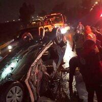La scène d'un accident mortel à proximité de Kfar Saba, le 18 janvier 2020. (Crédit: MDA)