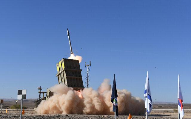 Le ministère de la Défense et le contractuel de la défense Rafael testent une version mise à jour du système de défense du Dôme de fer en janvier 2020. (Ministère de la Défense)